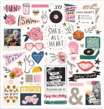 Chipboard Stickers All Heart, Crate Paper